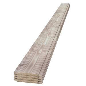 1 in. x 6 in. x 4 ft. Smoke White Charred Wood Pine Shiplap Board (4-pack)