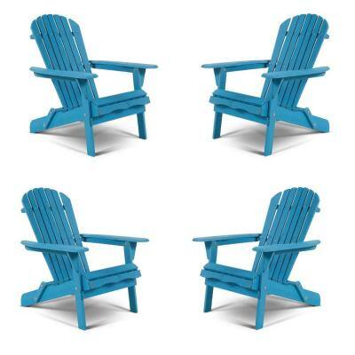 Classic Sky Blue Folding Wood Adirondack Chair (4-Pack)