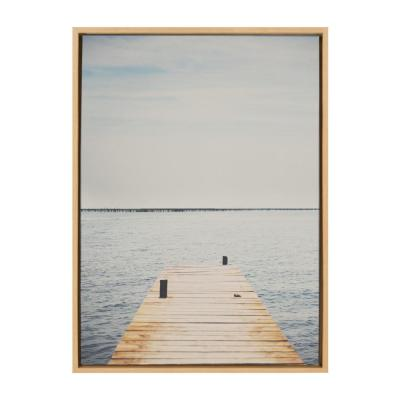 """Sylvie """"Standing on the Dock"""" by Laura Evans Framed Canvas Wall Art 23 in. x 33 in."""