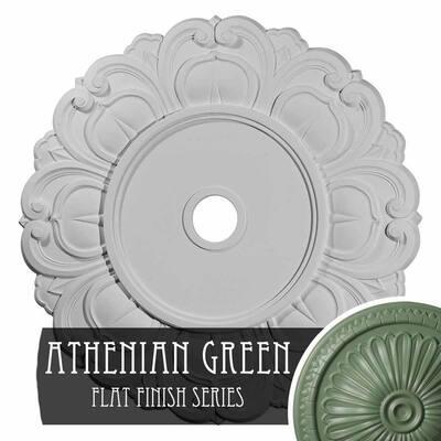 "1-1/8"" x 32-1/4"" x 32-1/4"" Polyurethane Angel Ceiling , Hand-Painted Athenian Green"