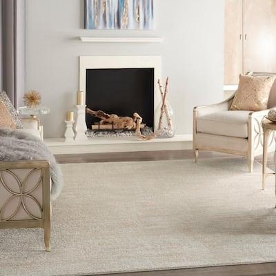 Essentials Ivory Beige 9 ft. x 12 ft. Solid Contemporary Indoor/Outdoor Area Rug