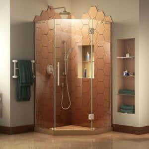 Prism Plus 36 in. D x 36 in. W x 72 in. H Semi-Frameless Neo-Angle Hinged Shower Enclosure in Brushed Nickel Hardware