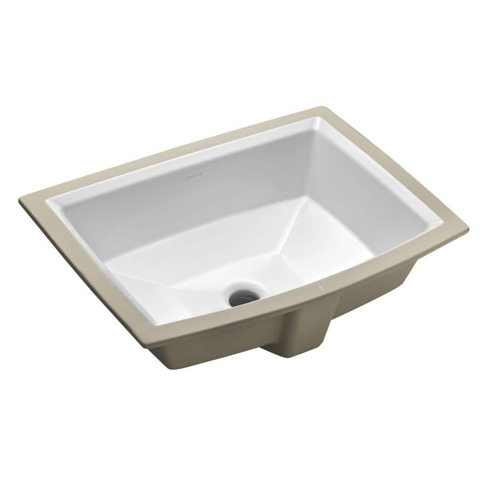 Kohler Archer Vitreous China Undermount Bathroom Sink In White With Overflow Drain K 2355 0 The Home Depot