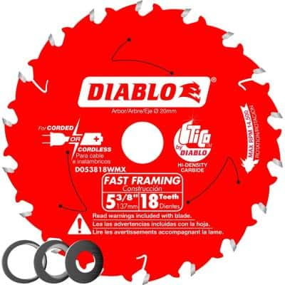 5-3/8 in x 18-Tooth Fast Framing Saw Blade with Bushings