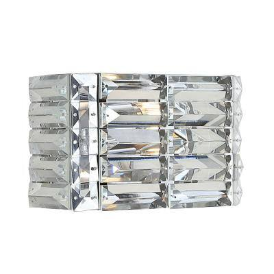 Evelyn Crystal Rectangle 10 in. 1-Light Chrome Iron/Crystal Glam Modern LED Vanity Light