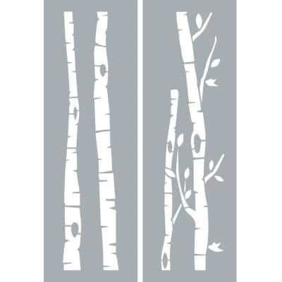 6 in. x 18 in. Birch Trees Stencil