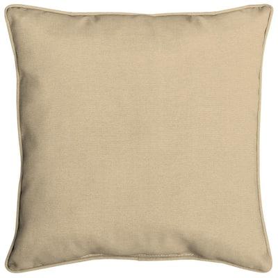 Acrylic 16 in. Tan Linen Throw Pillow