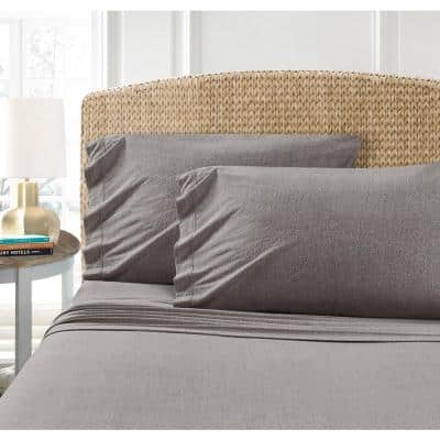 Heather Charcoal Jersey 30 in. x 20 in. Pillowcases (2-Pack)