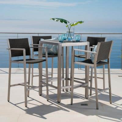 Gray 5-Piece Wicker Square Outdoor Bar Height Dining Set