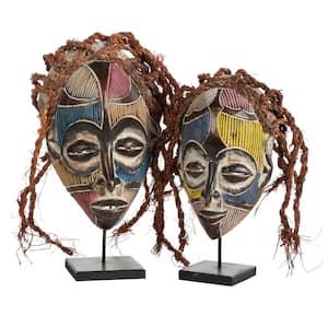 Handmade Multi-Colored Barkcloth and Baobab Wood Chokwe Mask with Long Rope Hair - Set of 2