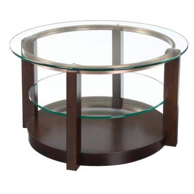 Benton 35 in. Espresso/Clear Medium Round Glass Coffee Table with Casters