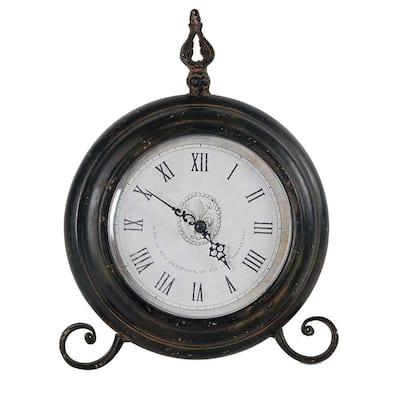 11.5 in. x 9 in. Metal Tabletop Clock