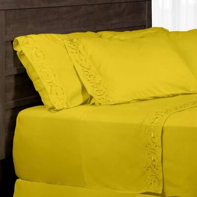 6-Piece Yellow Microfiber Queen Sheet Set