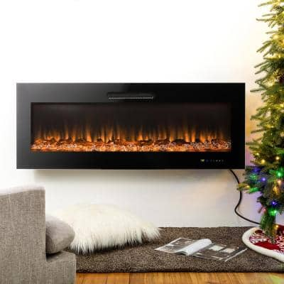 50 in. L Black Recessed Wall Mounted Electric Fireplace with 9 Color Flames Faux Log and Crystal Decorated