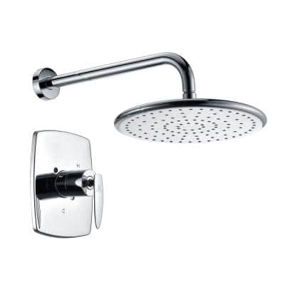 Thyme 1-Spray 11.4 in. Fixed Showerhead in Polished Chrome (Valve Included)