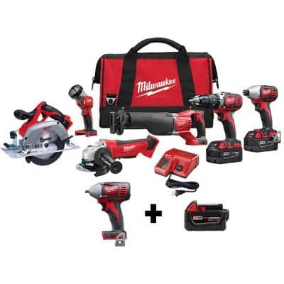M18 18-Volt Lithium-Ion Cordless Combo Tool Kit (6-Tool) w/ 3/8 in. Impact Wrench and Additional 5.0 Ah Battery