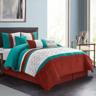 7-Piece Multi-Colored Patchwork Polyester California King Comforter Set Luxury Bed in a Bag