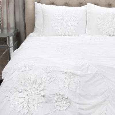 White Floral Applique Comforter Set