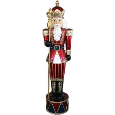 6 ft. Christmas Jeweled Nutcracker Greeter with Staff and Long-Lasting 22 LED Lights