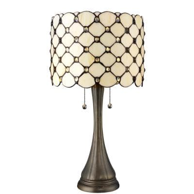 Creamy White 21 in. Height Jeweled Table Lamp and 60 in. Height Floor Lamp Set