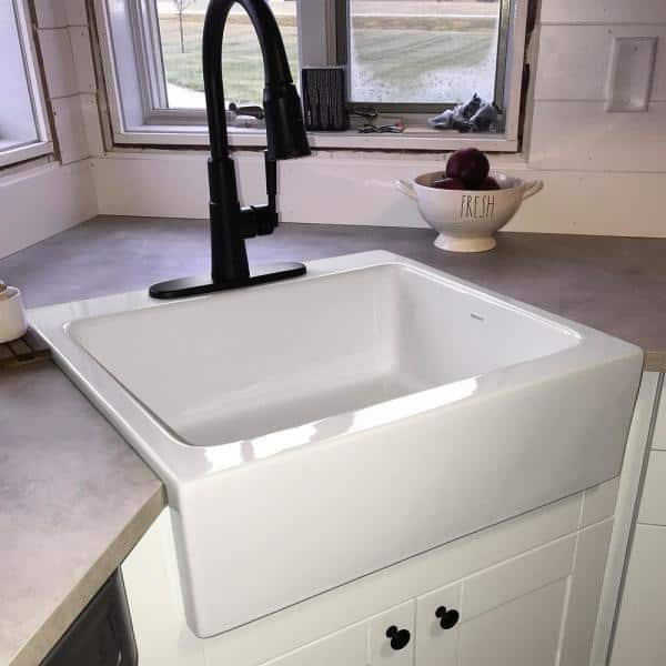 Sinkology Josephine Quick Fit Drop In Farmhouse Fireclay 25 85 In 3 Hole Single Bowl Kitchen Sink In Crisp White Sk452 26fc 3 The Home Depot