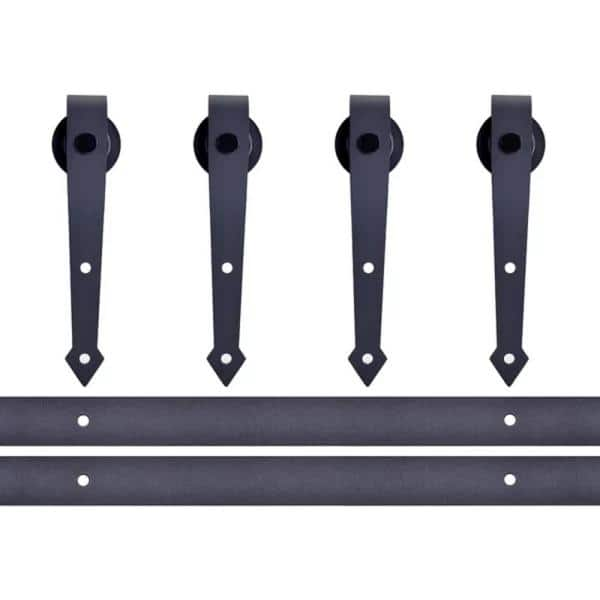 Calhome 12 Ft Classic Vintage Arrow Sliding Standard Double Track Barn Door Hardware Kit Tsq08 Dark 2 Cnnt Dark 1 The Home Depot
