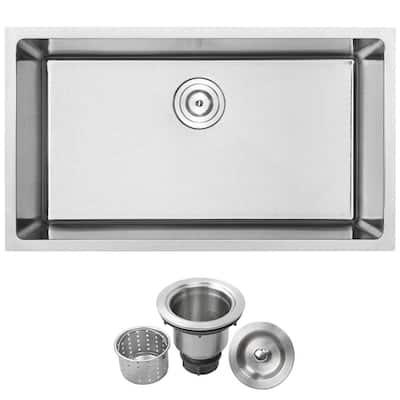 Arlo Undermount 18-Gauge Stainless Steel 31.25 in. Single Bowl Kitchen Sink with Basket Strainer