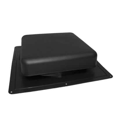 60 sq. in. NFA Resin Square-Top Roof Louver Static Vent in Black