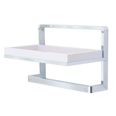Mindy 16 in. Chrome and ABS Towel Rack and Decorative Wall Shelf
