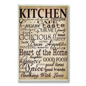 12.5 in. x 18.5 in. ''Words In The Kitchen Off White'' by Gplicensing Printed Wood Wall Art