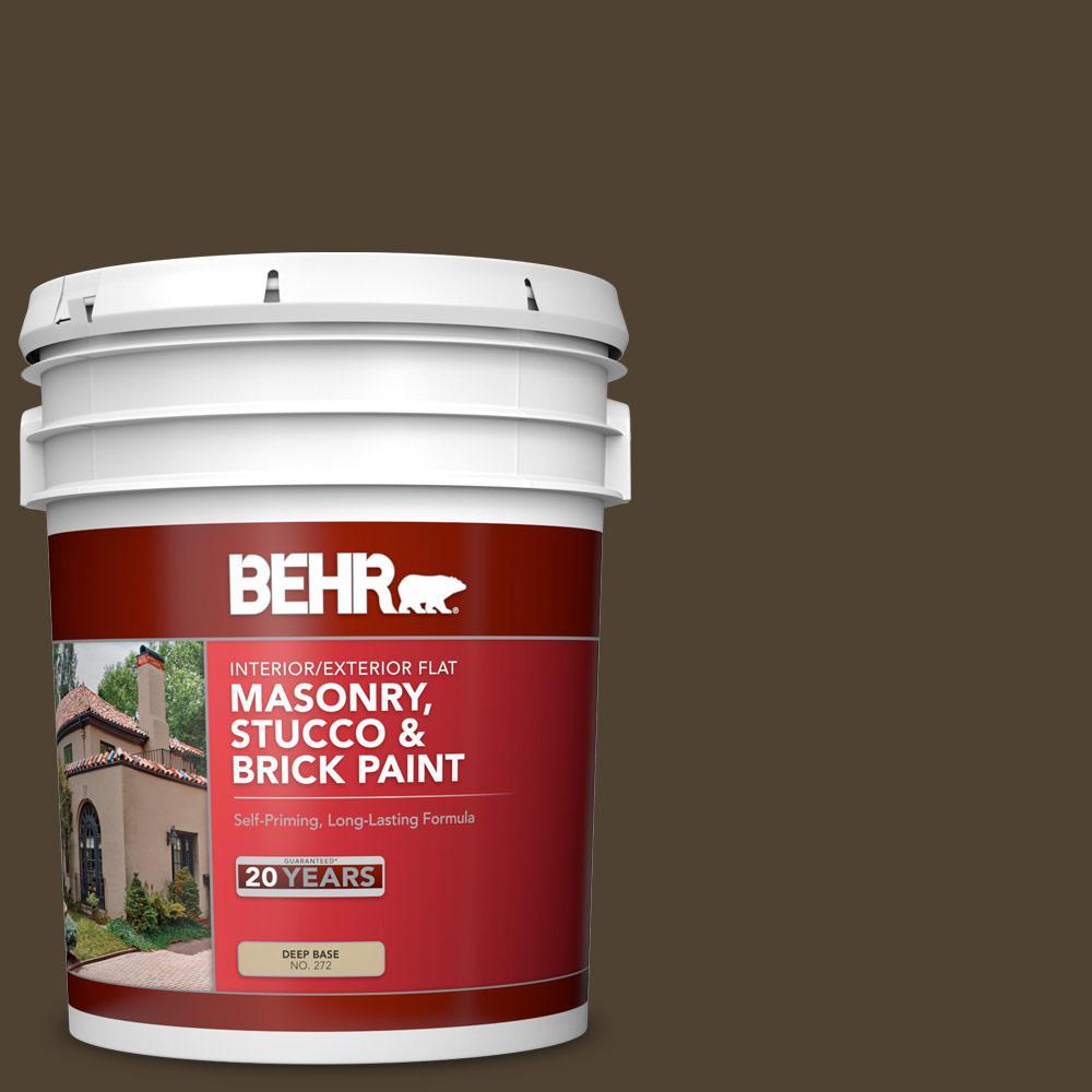 5 gal. #MS-90 Deep Chocolate Flat Interior/Exterior Masonry, Stucco and Brick Paint