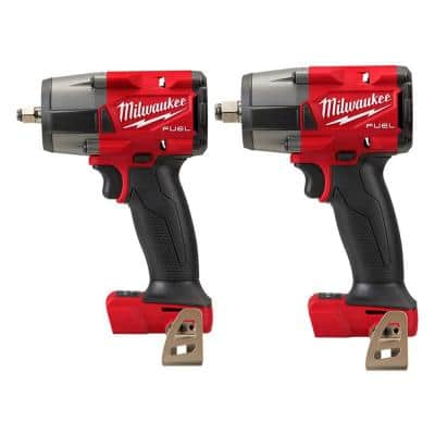 M18 FUEL GEN-2 18-Volt Lithium-Ion Mid Torque Brushless Cordless 3/8 in. and 1/2 in Impact Wrench (2-Tool)
