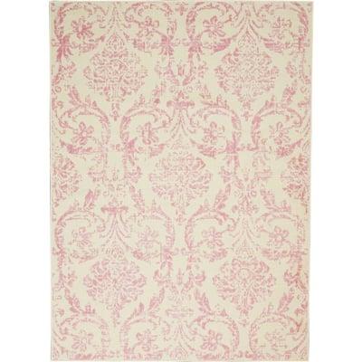 Jubilant Ivory/Pink 5 ft. x 7 ft. Persian Vintage Area Rug