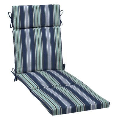 21 in. x 29.5 in. Outdoor Chaise Lounge Cushion in Sapphire Aurora Stripe