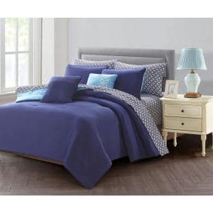 7-Piece Blue Twin Bed in a Bag Set