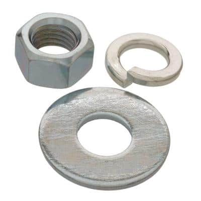 1/4 in. Zinc-Plated Nuts, Washers and Lock Washers (30-Piece)