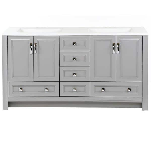 Glacier Bay Candlesby 60 In W X 19 In D Bath Vanity In Sterling Gray With Cultured Marble Vanity Top In White W White Sink Cd60p2 St The Home Depot