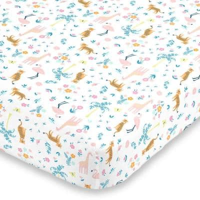 Pink & White Tropical Super Soft Mini Polyester Fitted Crib Sheet