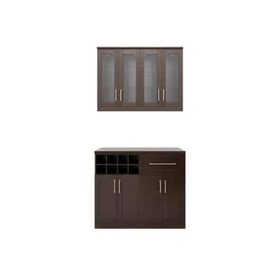 Home Bar 21 in. Espresso Cabinet Set (5-Piece)