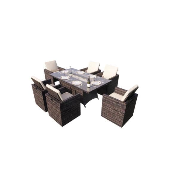 Direct Wicker Belle Brown 11 Pieces Patio Outdoor Rectangular Gas Fire Pit Sitting Set With Beige Cushions Pag 1634r The Home Depot