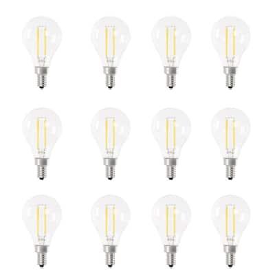 60-Watt Equivalent A15 Candelabra Dimmable CEC White Glass LED Ceiling Fan Light Bulb, Bright White 3000K (12-Pack)