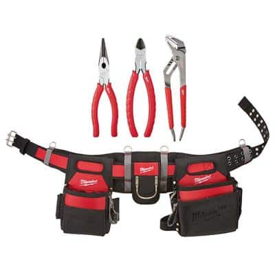 Adjustable Electricians Work Belt with 3-Pieces Pliers Kit