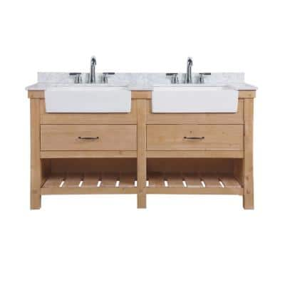 Marina 60 in. Double Bath Vanity in Driftwood with Marble Vanity Top in Carrara White with White Farmhouse Basins