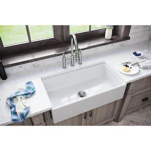 Burnham White Fireclay 33 in. Single Bowl Farmhouse Apron Kitchen Sink