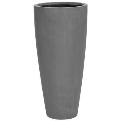Large Natural Dax 15 in. Grey Fiberstone Indoor Outdoor Modern Round Planter Pot