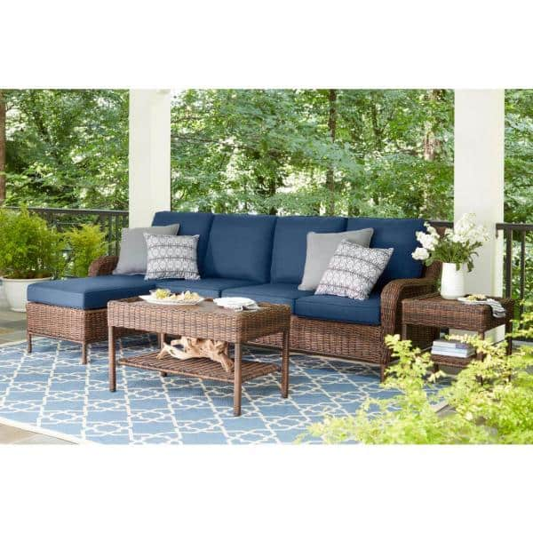 Hampton Bay Cambridge 5-Piece Brown Wicker Outdoor Patio Sectional Sofa Seating Set with CushionGuard Midnight Navy Blue Cushions
