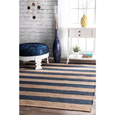 Alisia Stripes Jute Denim 3 ft. x 5 ft. Area Rug