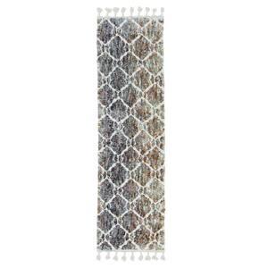 Bernadette Gray/Teal 2 ft. x 7 ft. Abstract Polyester Runner Rug