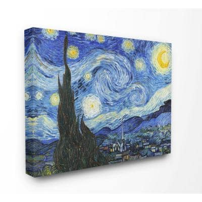"""36 in. x 48 in. """"Van Gogh Starry Night Post Impressionist Painting"""" by Vincent Van Gogh Canvas Wall Art"""