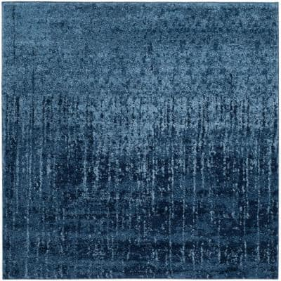 Retro Light Blue/Blue 4 ft. x 4 ft. Square Area Rug